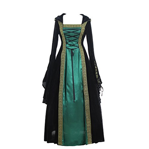 CosplayDiy Women's Medieval Renaissance Retro Gown Cosplay Costume Dress M Green