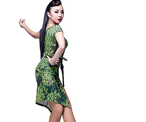 sleeves Cha Cha Ballroom Short skirt skirts Tango dance dress costumes Green Latin twIqRTXw
