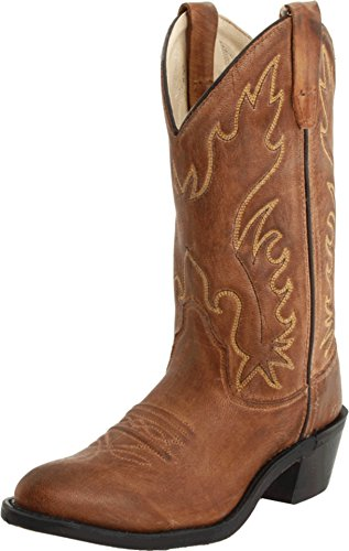Old West Western Boot Tan Leather Boots 4 M US Big Kid