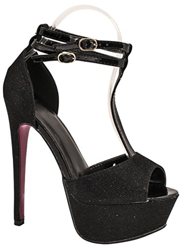 Tacón Brillantes De Plateau Stiletto Elara Pumps Zapatos Party Con Negro Correas qU5Zz7Z