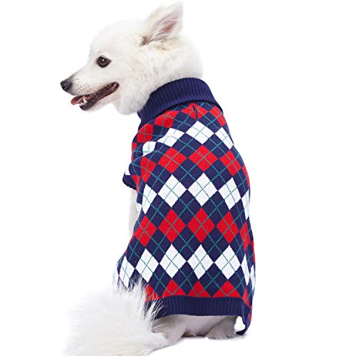 Blueberry Pet 2019 New 5 Patterns Chic Argyle All Over Dog Sweater in Navy Blue, Back Length 20
