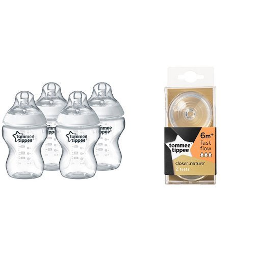 Tommee Tippee Closer to Nature 260ml/9oz Bottles (4-Pack) + Fast Flow Teats (x4)