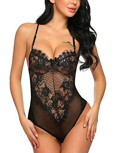 Avidlove Women Deep V Halter Fishnet Lingerie Lace Babydoll Teddy Bodysuit Black S ()