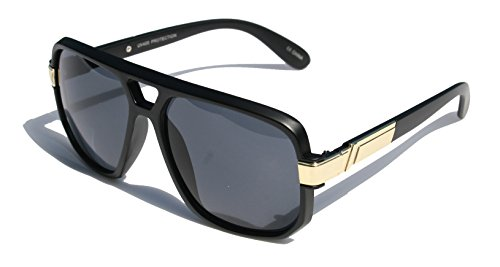Classic Square Frame Plastic Flat Top Aviator with Metal Trimming Sunglasses (Matte Black Gold, Black) (Plastic Unisex Sunglasses)