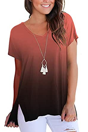 FAVALIVE Womens Short Sleeve T Shirt V Neck Loose High Low Tee Shirts - Orange - Small