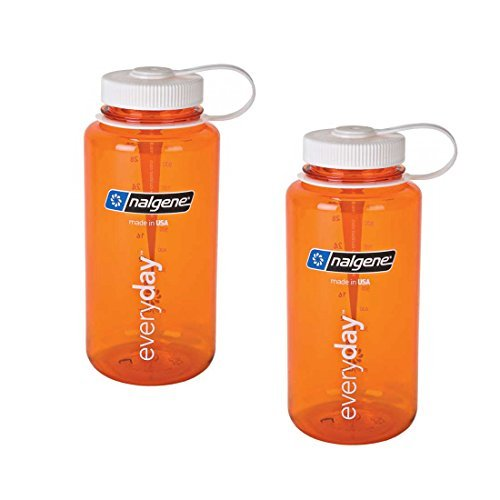 Nalgene Everyday Triton Wide Mouth 32oz Bottle - 2 Pack (Orange with White Lid)