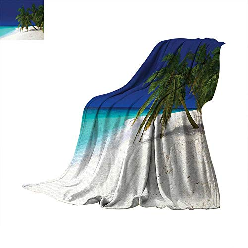 (Ocean Super Soft Lightweight Blanket Tropical Untouched Island Getaway Nature Coast Colorful View Picture Summer Quilt Comforter 60
