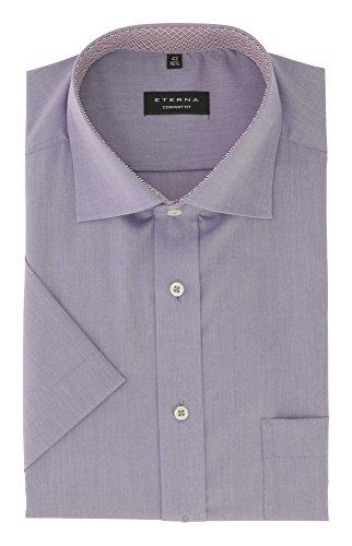 ETERNA Herren Kurzarmhemd aus 100% Baumwolle Comfort Fit mit Kent Kragen Gr. 42 Flieder