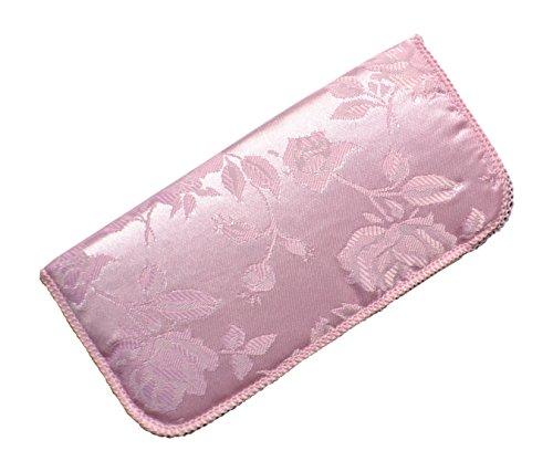- Soft Slip In Eyeglass Case For Women- Satin Floral Brocade Pattern In Light Pink