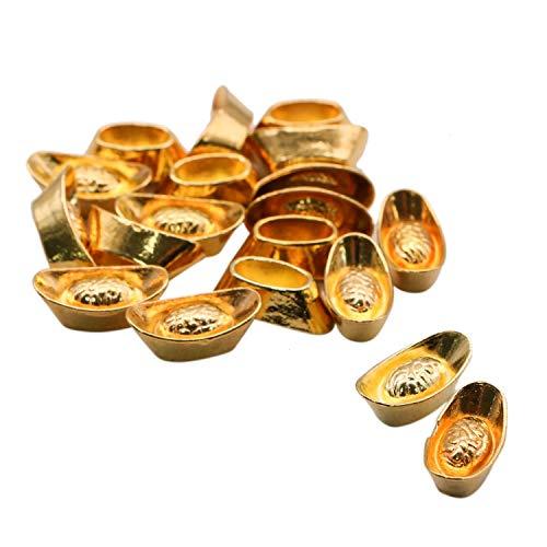 JETEHO 20pcs Feng Shui Golden Chinese Wealth Ingots