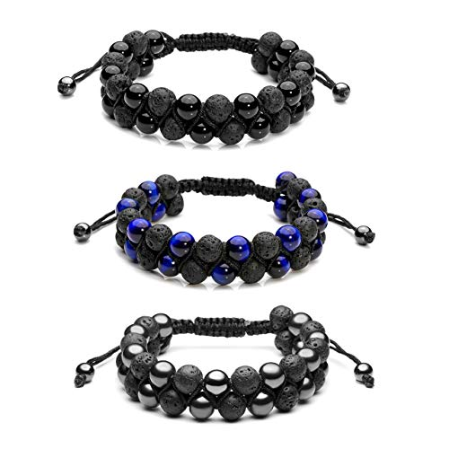 Jovivi 3pcs Lava Stone Essential Oil Diffuser Bracelet Tiger Eye Hematite Beads Double Layer Bracelets for Men Women