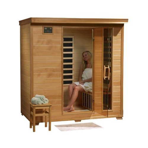 Hanko 4 Person Pre-Built FAR Infrared Sauna - High Quality Hemlock Construction for a Luxurious Spa Experience - 9 Premium Infra-Wave Carbon Composite Heaters - Built In MP3/AUX/CD/FM Stereo with Speakers - 7 Color Therapy Light - Backrests, Robe Hooks an by Hanko