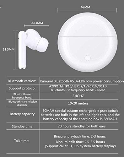 Bluetooth 5.0 in-Ear Headphones, with 24-Hour Charging Box, IPX7 Waterproof, 3-D Stereo, Built-in Microphone, pop-up Automatic Pairing Function, Suitable for Apple Airpods Pro/Android/iPhone
