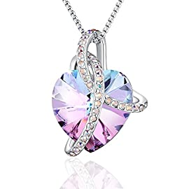 "PLATO H Noble Heart Pendant Necklace With Swarovski Crystals Christmas Gift for Her,18"", Rainbow Purple"