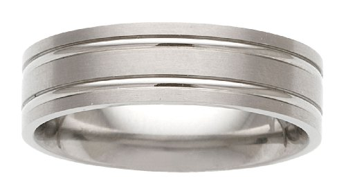 mens-comfort-fit-titanium-wedding-band-brushed-with-grooves-size-11