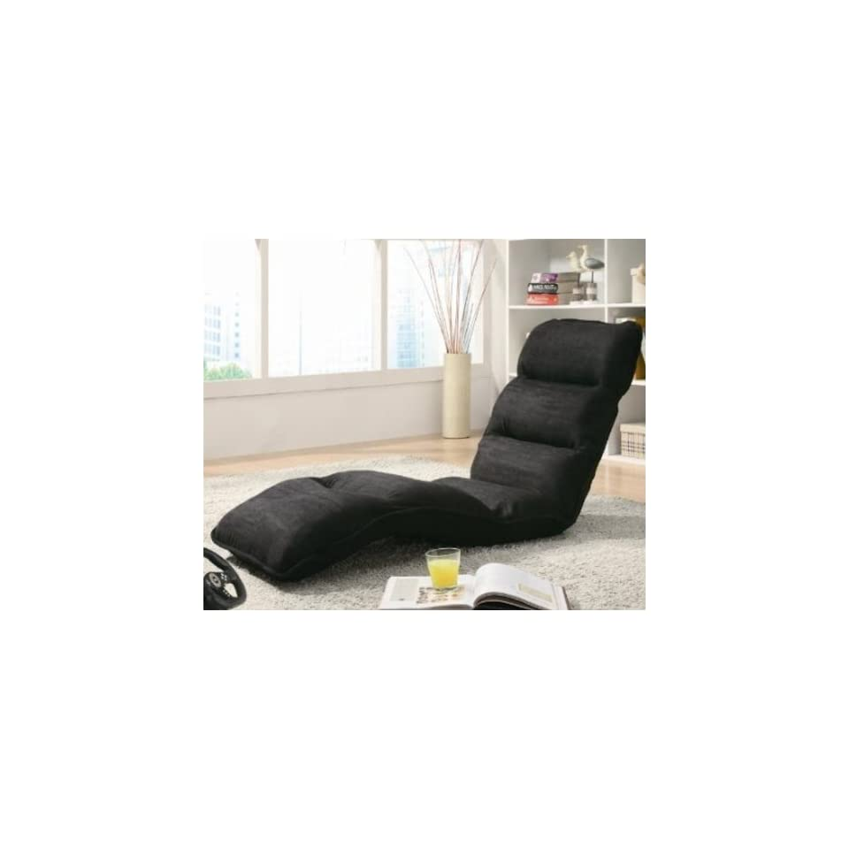 Positional Game Chair Lounger Sleeper in Black Fabric
