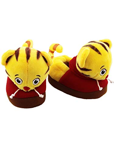 (Daniel Tiger Toddler Boys Girls Plush 3D Daniel Head Slippers (7-8 M US Toddler, Yellow/Red))