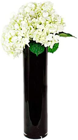 CYS EXCEL Hand Blown-Black Glass Cylinder Vase