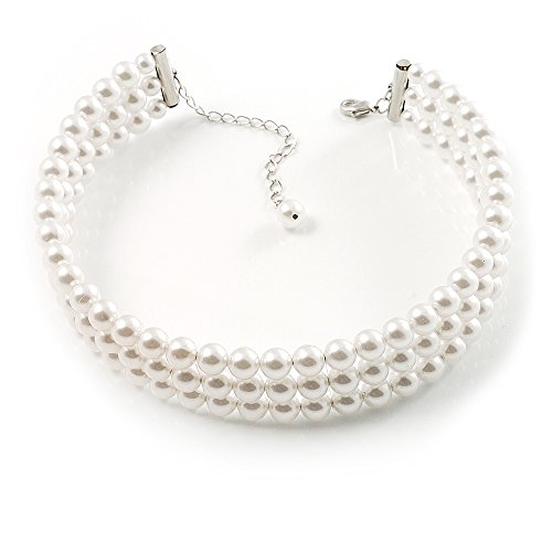 3 Tier Synthetic Pearl Collar Necklace In Silver Plating (Snow (London Three Tier)