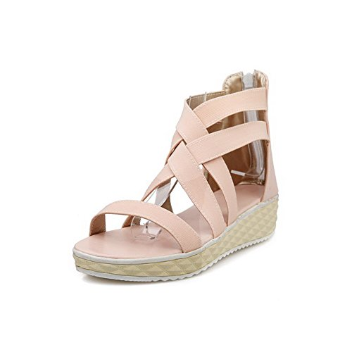 Allhqfashion Dames Pu Stevige Ritssluiting Open Teen Lage Hakken Sleehakken-sandalen Roze