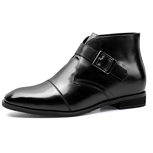 CHAMARIPA Men's Black Leather Hight Increasing Shoes Chukka Boot H72B11K102D US 10 by CHAMARIPA