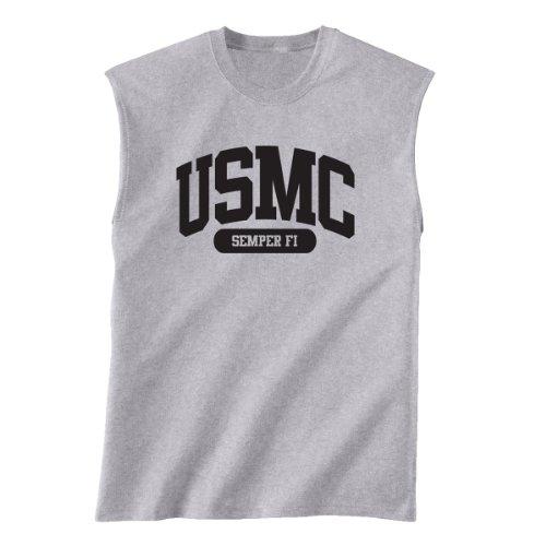 Marines Sleeveless (USMC Semper Fi Marines Sleeveless Shooter Shirt in Sport Grey - X-Large)
