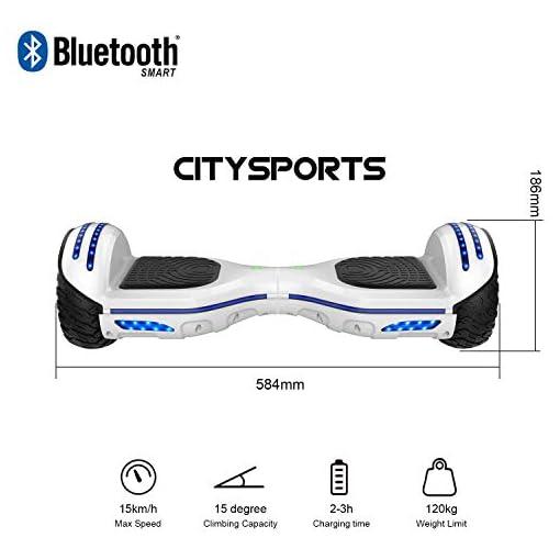 CITYSPORTS Balance Board 6.5″, Self Balancing Scooter avec Roue LED et Bluetooth Intégré, Moteur 2 * 350W