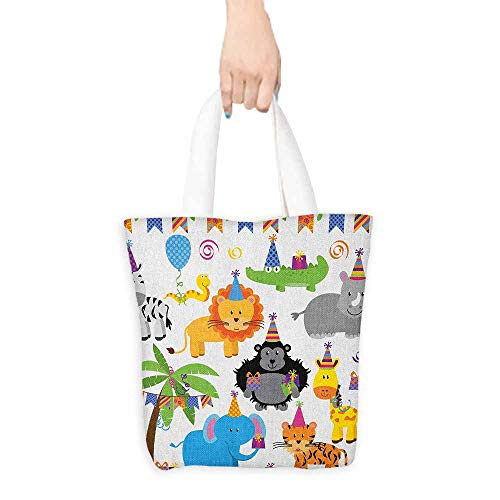 - Shopping Bag,Kids Birthday Jungle Wild Safari Animals in Cartoon Pattern with Party Hats Flags Image,Reusable Grocery Bags,16.5