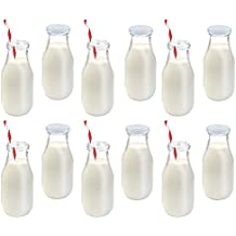 Premium Vials, 11 Oz Glass Milk Bottle Set of 12 - Includes Reusable White Lids and Straws (12)