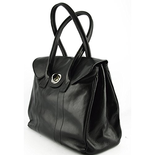 Borsa A Spalla Donna In Vera Pelle Con Bottone Rotatorio Colore Nero - Pelletteria Toscana Made In Italy - Borsa Donna