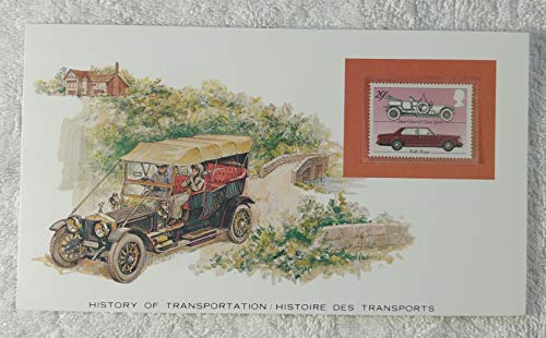 Rolls-Royce - Postage Stamp (United Kingdom, 1982) & Art Panel - The History of Transportation - Franklin Mint (Limited Edition, 1986) - Automobile