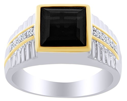 AFFY 5.89 Ct Square Cut Black Cubic Zirconia & Simulated White Topaz Two-Tone Men's Ring in 14k White Gold Over Sterling Silver Ring Size - 8.5 -