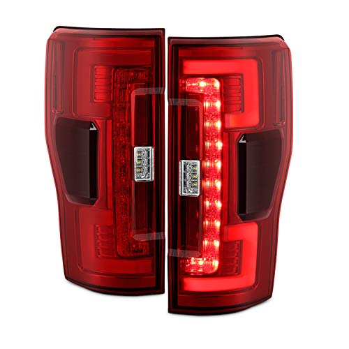 (Fits 2017-2019 Ford F250 F350 F450 Super Duty LED Stripe Tube Bar [Blind Spot Monitor] Red Tail Brake Lights Pair)