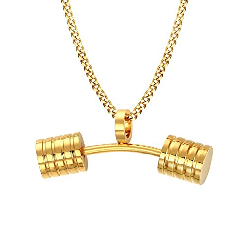 Tabitha Jewelry Box - TIANYI Men's Women's Jewelry Stainless Steel Fitness Dumbbell Barbell Pendant Necklace, 24
