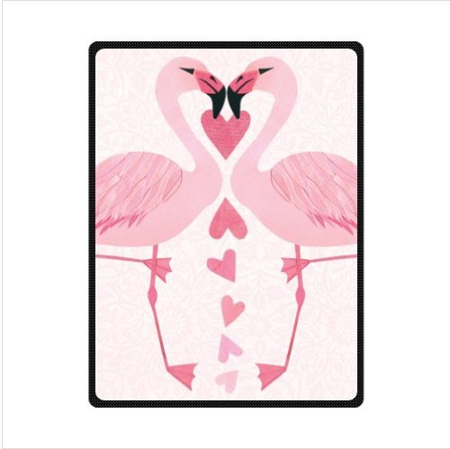 pink Flamingos,love heart Flamingos,love Flamingo design Fleece Blankets and throws 58 X 80 inch (Large) (Throw Fleece Blanket Series)