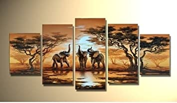 Modern Canvas Wall Art Decor African Forest Lake Elephant Home Decoration  Landscape Oil Paintings On Canvas