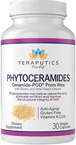 Phytoceramides Ceramide-PCD® Made from Rice - w/Biotin and Kiwi Seed - Non GMO Gluten Free Hair Skin and Nails Vitamin, Reduce Fine Lines & Wrinkles, Strengthen Hair & Nails, 30 Veggie Capsules
