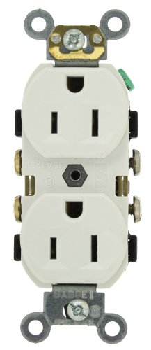 Leviton CR15-W 15-Amp, 125-Volt, Narrow Body Duplex Receptacle, Straight Blade, Commercial Grade, Self Grounding, Side Wired, White ()