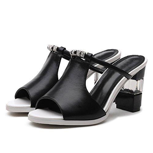 Diamante 37 Femeninas Black Tamaño Femenina Ropa Cristal Altos Verano De Palabra Sandalias Y YUBIN Sandalias con Coreana Grueso Tacones Moda Zapatillas De Color Zapatos Zapatillas Mujer 4Cqn8x