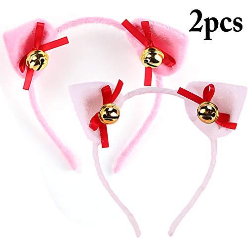 Halloween Party Headband, Coxeer 2PCS Rabbit Ear Bowknot Bell Cosplay Headband Hair Hoop for Kids
