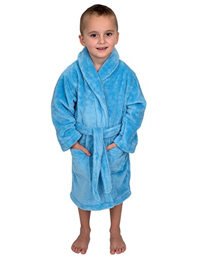 TowelSelections Boys Robe, Kids Plush Shawl Fleece Bathrobe, Made in Turkey
