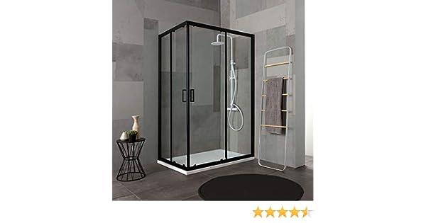 mampara de ducha de 80 X 120 Perfil Negro mate Cristal ...