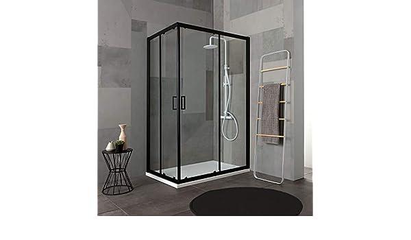 mampara de ducha de 80 X 100 H 190 Perfil Negro mate Cristal ...