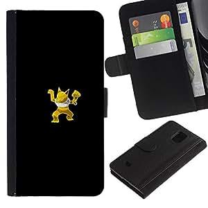 LECELL--Cuero de la tarjeta la carpeta del tirón Smartphone Slots Protección Holder For Samsung Galaxy S5 Mini, SM-G800 -- Meter Monster Amarillo Fox --