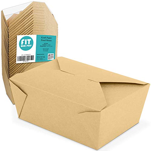 """112 OZ 8 x 5.5 x 3.5"""" Disposable Paper Take Out Food Containers, Microwaveble Folding Natural Kraft To Go Boxes #4 [40 Pack]"""