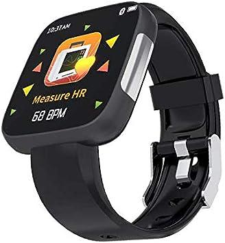 TOOGOO Reloj Inteligente T5 Pantalla Completa ECG PPG Reloj Impermeable Rastreador de Ejercicios Monitor de Ritmo CardíAco PresióN Arterial CáMara Remota Reloj Inteligente Negro: Amazon.es: Electrónica