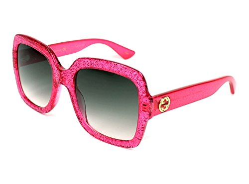 Gucci GG0036S 007 (Glitter Pink fuschia fuchsia with Grey Gradient with Mirror effect - Gucci Sunglasses Mirrored