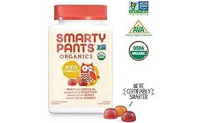 SmartyPants Vegetarian Organic Kids Daily Gummy Vitamins: Multivitamin, Gluten Free, Non-GMO, Omega-3, Probiotic, Vitamin D3, Methylcobalamin B12, Zinc; 120Count (30 Day Supply)