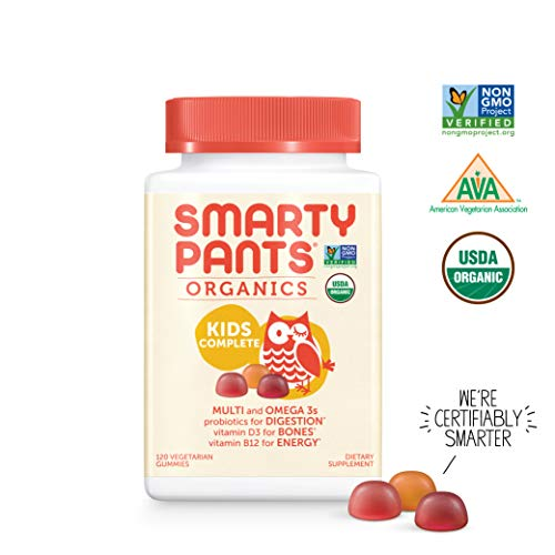 SmartyPants Vegetarian Organic Kids Daily Gummy Vitamins: Multivitamin, Gluten Free, Non-GMO, Omega-3, Probiotic, Vitamin D3, Methylcobalamin B12, Zinc; 120Count (30 Day Supply) ()