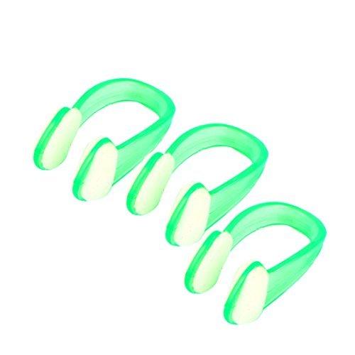 Plongée sous-marine vert clair caoutchouc Natation Swim Nose Protector Clip 3 Pcs
